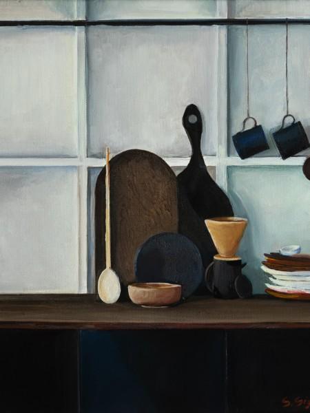 Cucina nera con boiserie